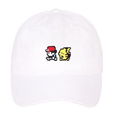 c93ce6dd04f Pokemon Pikachu Pokeball Embroidered Cotton Low Profile Unstructured Dad Hat  - White -