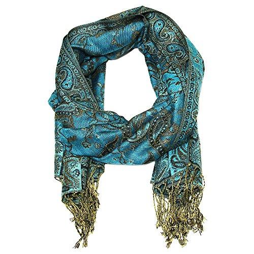"""Falari Women's Woven Pashmina Shawl Wrap Scarf 80"""" X 27"""" Turquoise"""