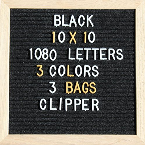 Black Felt Letter Board   10X10 Inch Oak Wood Frame With A Stand   1080 Changeable Plastic Letters In 3 Colors With 3 Bags   Inspirational Announcement Message Sign Letterboard Wall Mount