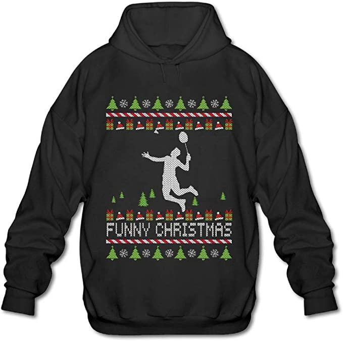 OPQRSTQ-O Badminton Happy Christmas Mens Funny Hooded Sweatshirt Hoody