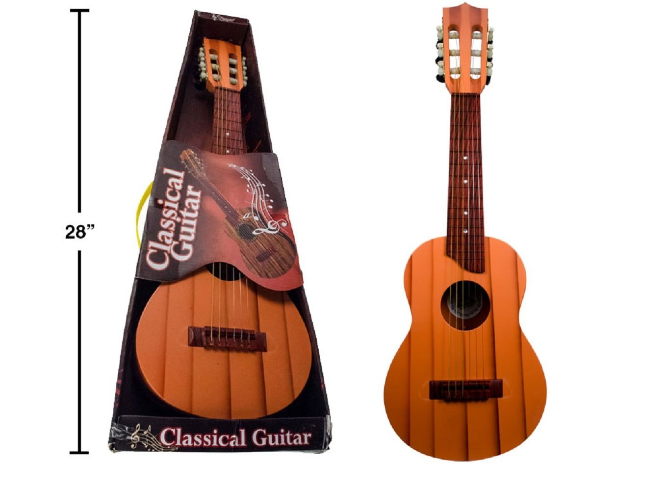 Wood Grain Classical Guitar Toy (Plastic), 28 inches, Brown Color ctg Brands