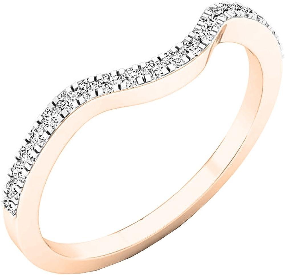 0.15 Carat (ctw) 10K Gold Round White Diamond Anniversary Ring Wedding Guard Band