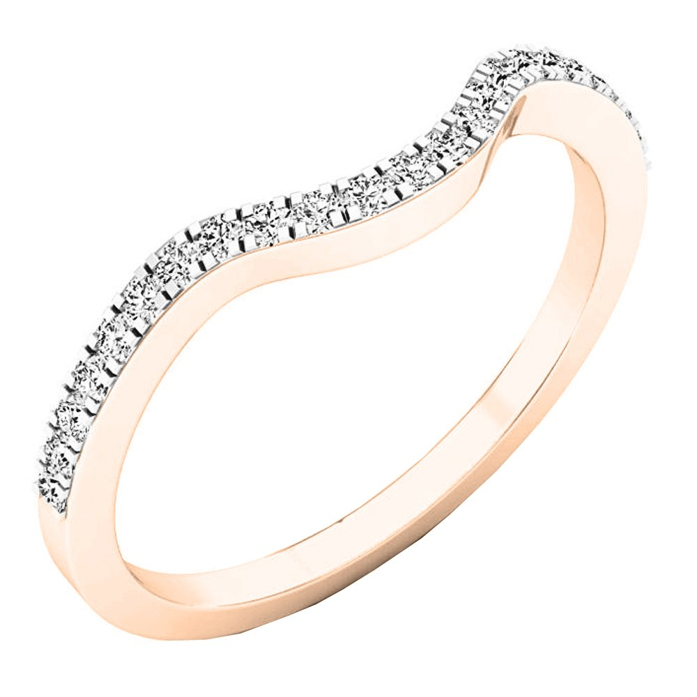 0.15 Carat (ctw) 14K Rose Gold Round White Diamond Anniversary Ring Wedding Guard Band (Size 4.5)