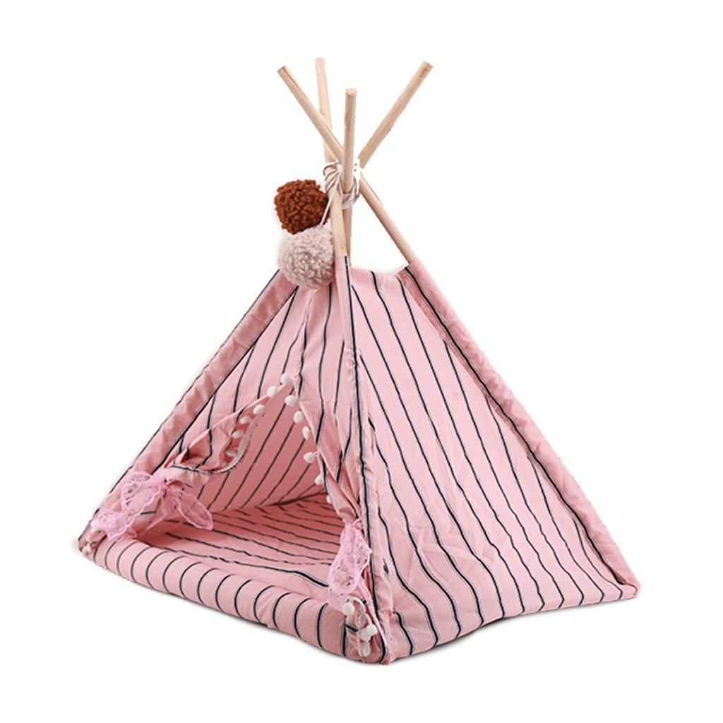 WANGXIAOLIN Pet nest, Tent Type, 46  35  45cm, Closed, Removable, cat House, Pink Stripes, pet Tent, Four Seasons Universal, Portable, cat House