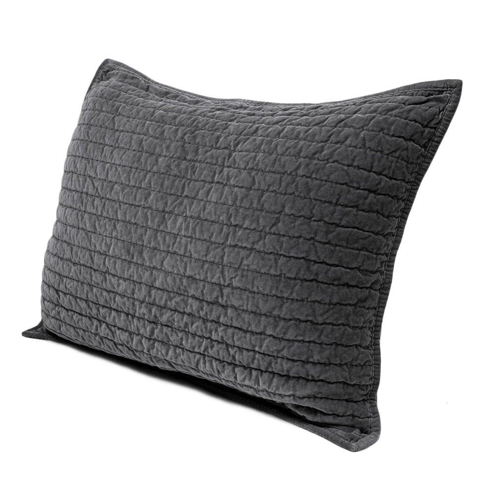 Elegant Life Royal Cotton Velvet Pic-Stitch Standard Pillow Sham - 20'' x 26'', Gray