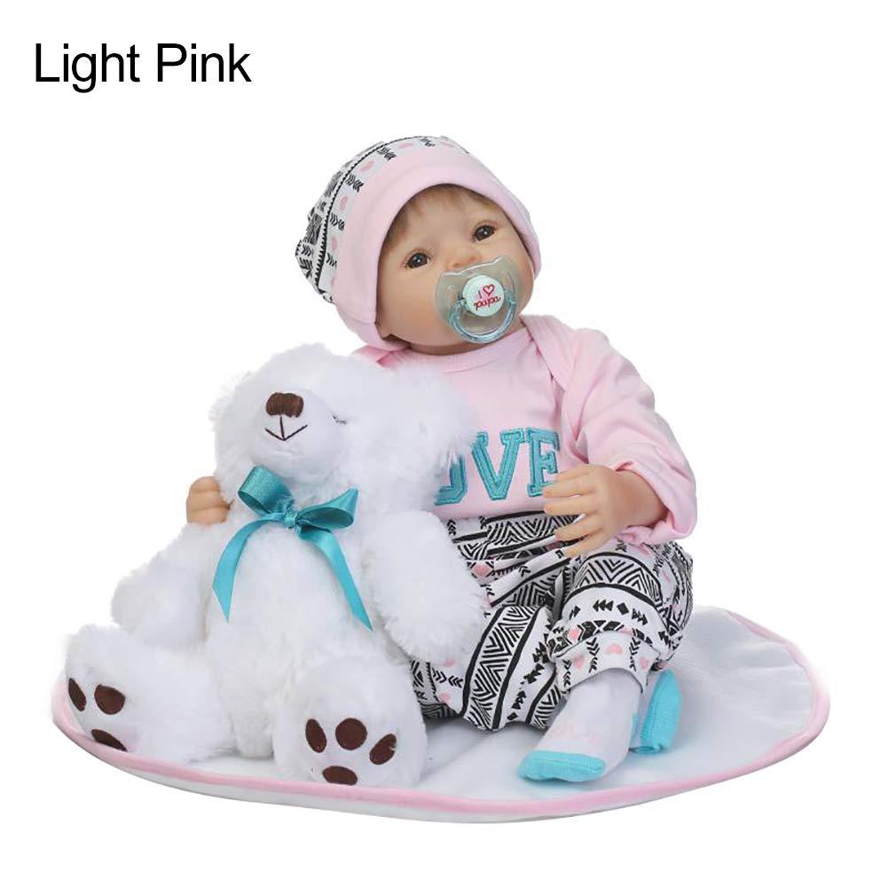 Honey MoMo Puppe, Baby-Puppen, 50 cm, realistisch, für Neugeborene, Baby, Mädchen, Jungen, Vinyl, Silikon, Pretend Play Light Rosa