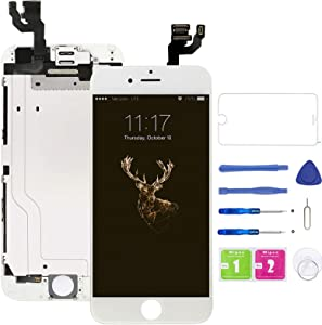 Pre-Assembled Screen Replacement for iPhone 6 White, LCD Display and Touch Screen Digitizer Replacement for A1549, A1586, A1589 w/Facing Proximity Sensor, Ear Speaker, Front Camera and Repair Tools