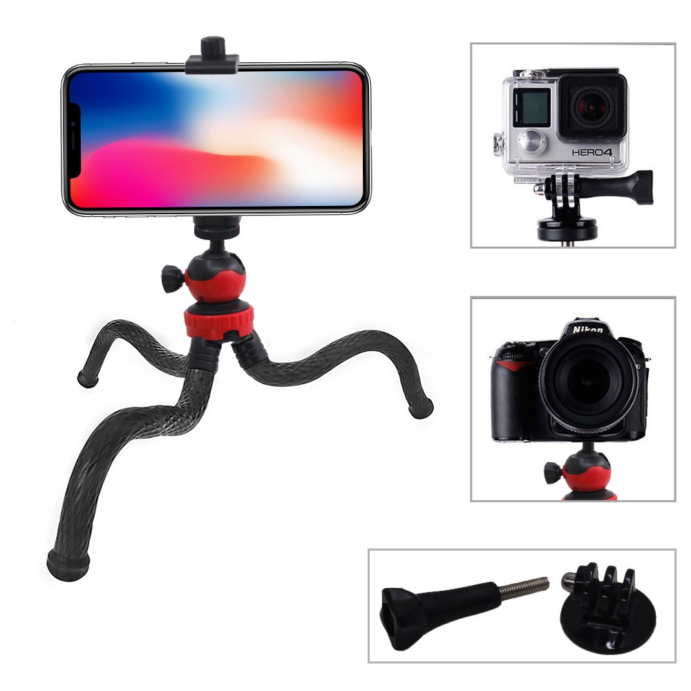 4 in 1 Camera Phone Tripod with Cell Phone Mount Clamp, AFUNTA Flexible 12 Inch Stand Holder Compatible GoPro Canon Nikon Sony DSLR Cam Action Cam Android Smartphone