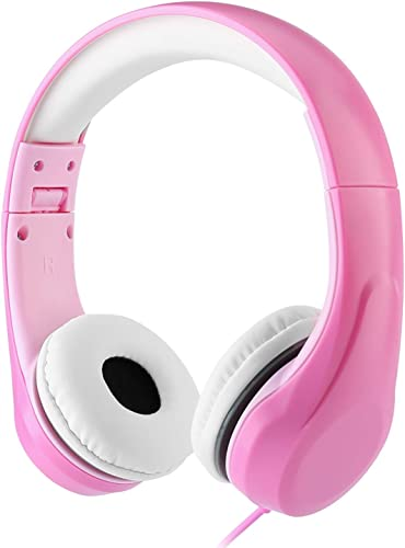 Volume Limited LINKWIN Kids Safety Foldable Stereo Headphones,3.5mm Jack Wired Cord Earbuds, Volume Controlled at 85dB On Over Ear Children Toddler Headset, for iPad Kindle Airplane School, Pink