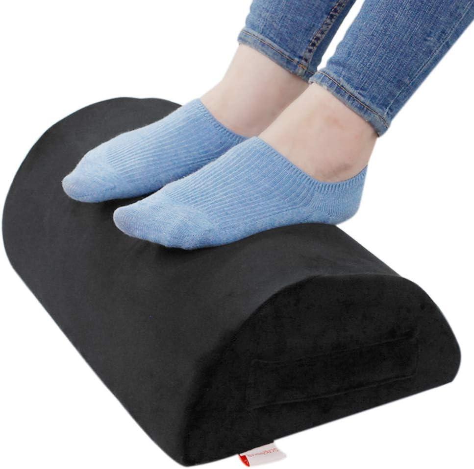 Amazon Com Ergonomic Foot Rest Cushion Under Desk With High Rebound Ergonomic Foam Non Slip Half Cylinder Footstool Footrest Ottoman For Home Office Desk Airplane Travel Black Office Products