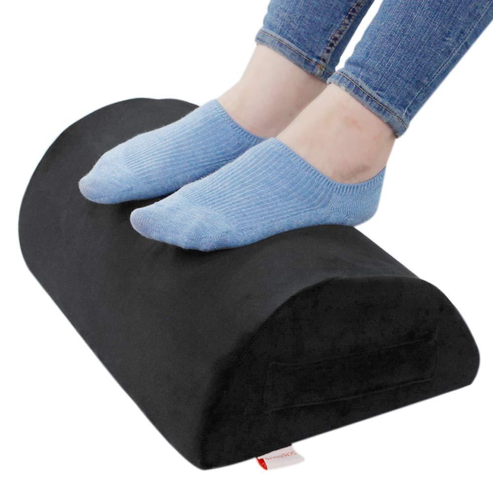 Ergonomic Foot Rest Cushion Under Desk with High Rebound Ergonomic Foam Non-Slip Half-Cylinder Footstool Footrest Ottoman for Home Office Desk Airplane Travel (Black)