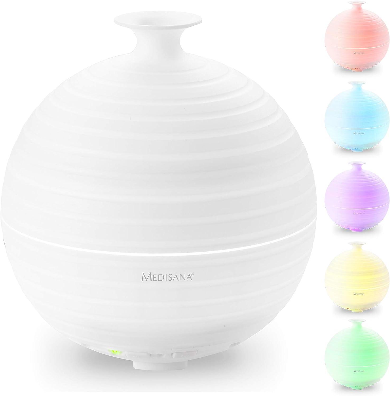 Medisana AD 620 Difusor de Aromas, Nebulizador con Luz de Bienestar en 5 Colores, Lámpara de Fragancia con Temporizador, Agradable Fragancia Ambiente para la Aromaterapia, 300 ml, Blanco