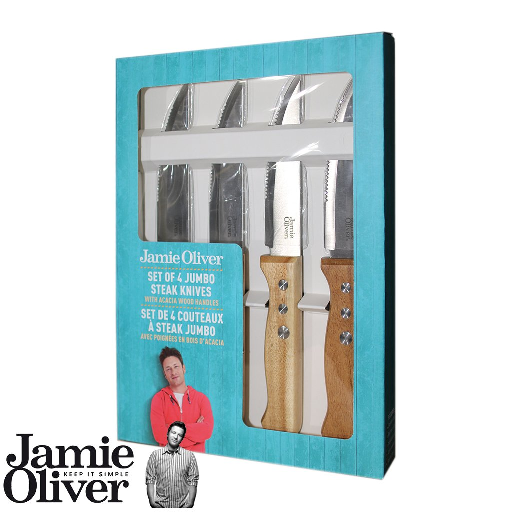 Jamie Oliver Set of 4 Jumbo Steak knives with acacia wooden handle - French edition