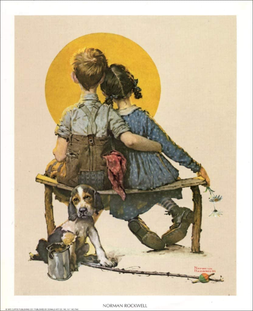Norman Rockwell Little Spooner Sweethearts Art Print Size 8x10 inches Art Prints by Famous Artist 7545
