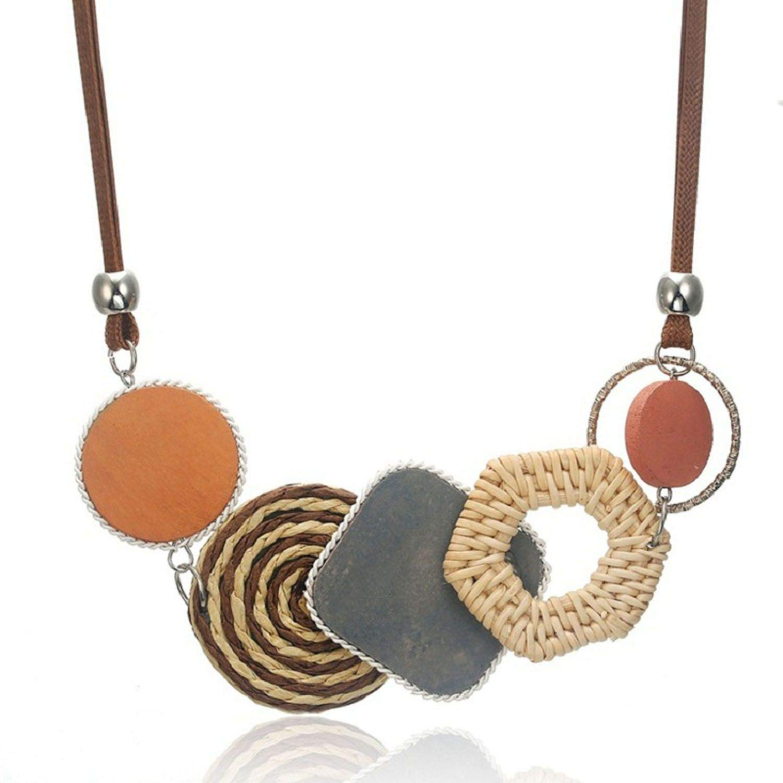 ABBY CHAMBERS Fashion Big Flowers Necklace Pendants Vintage Acrylic Women Jewelry