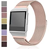 Maledan Metal Bands Compatible with Fitbit Ionic, Stainless Steel Milanese Loop Replacement Accessories Bracelet Strap with Magnet Closure for Fitbit Ionic Smart Watch, Women Men