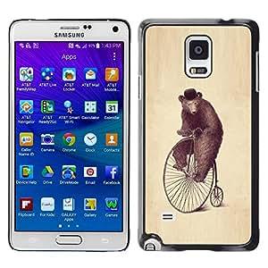 Qstar Arte & diseño plástico duro Fundas Cover Cubre Hard Case Cover para Samsung Galaxy Note 4 IV / SM-N910F / SM-N910K / SM-N910C / SM-N910W8 / SM-N910U / SM-N910G ( Bear Wheel Art Drawing Watercolor Pencil Hat)