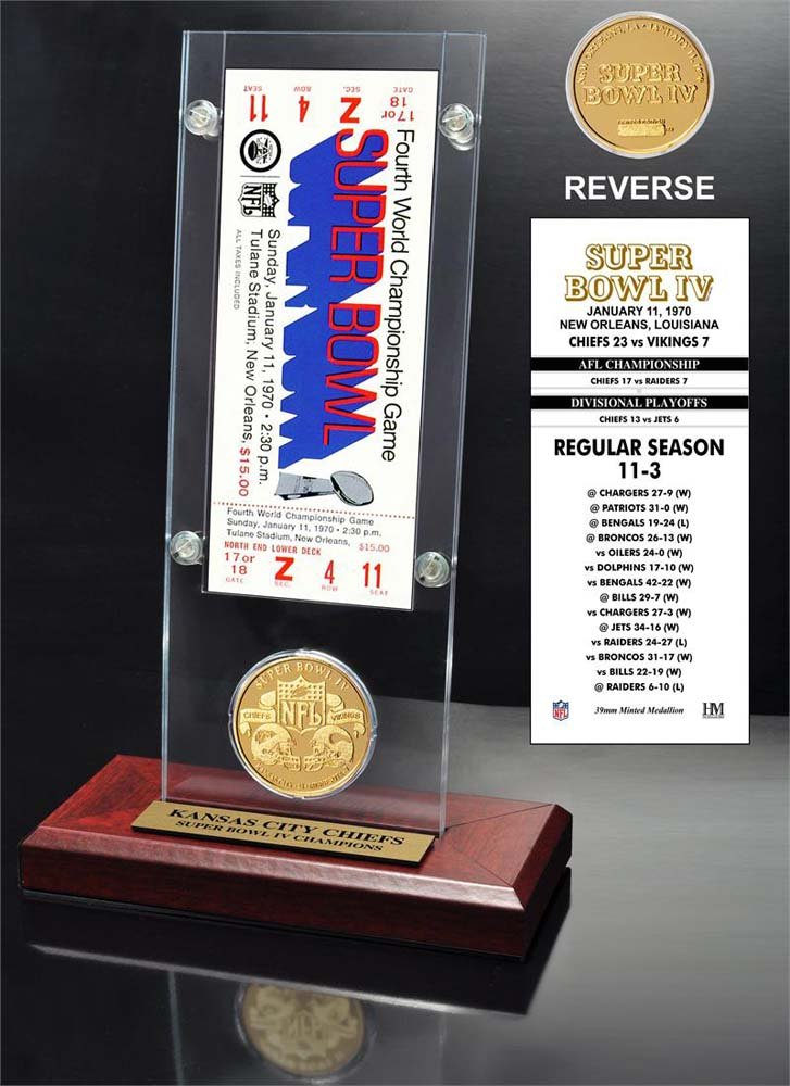 The Highland Mint NFL Kansas City Chiefs Super Bowl 4 Ticket & Game Coin Collection, 12'' x 2'' x 5'', Black