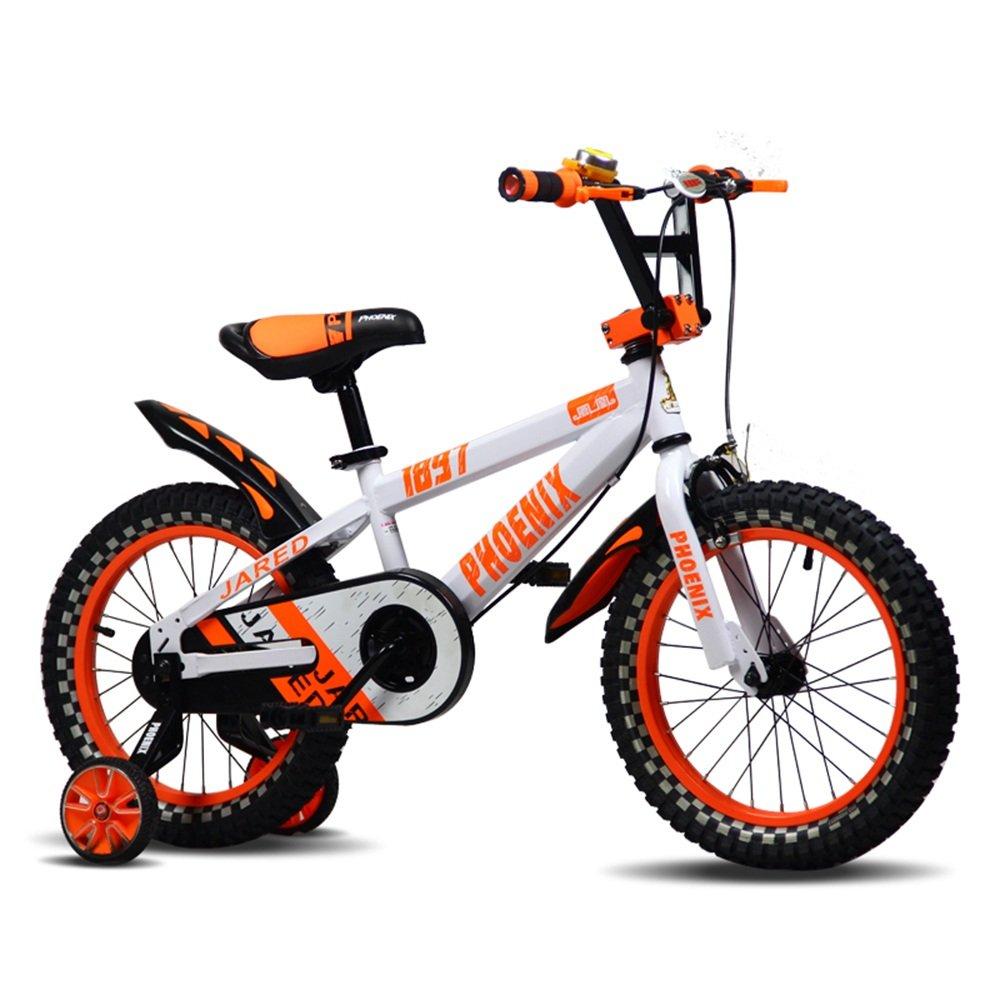 PJ 自転車 子供用自転車12インチの男の子と女の子が青と黒のスタビライザーで|アルミニウムキャリパーブレーキとバックペダルブレーキセキュリティパッケージを含む 子供と幼児に適しています ( 色 : オレンジ ) B07CRL1D78オレンジ