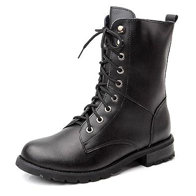 CHNHIRA Damen Martin Stiefel Flache Boots Klassischer Stiefeletten Schnüren (EU 43, Schwarz)