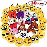 "Dreampark Emoji Keychain, Emoji Key Chain Mini Plush Poop Pillows, Party Favors for Kids, Christmas / Birthday Party Supplies 2"" Set of 30"