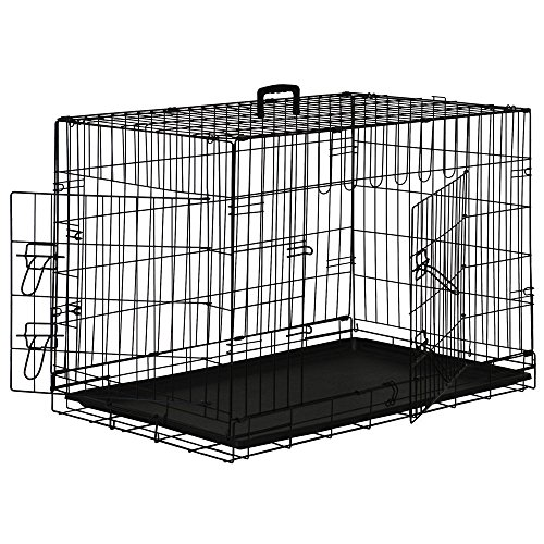 Pet Dog Cage Crate Kennel Playpen 2 Door Wire Metal Folding (36