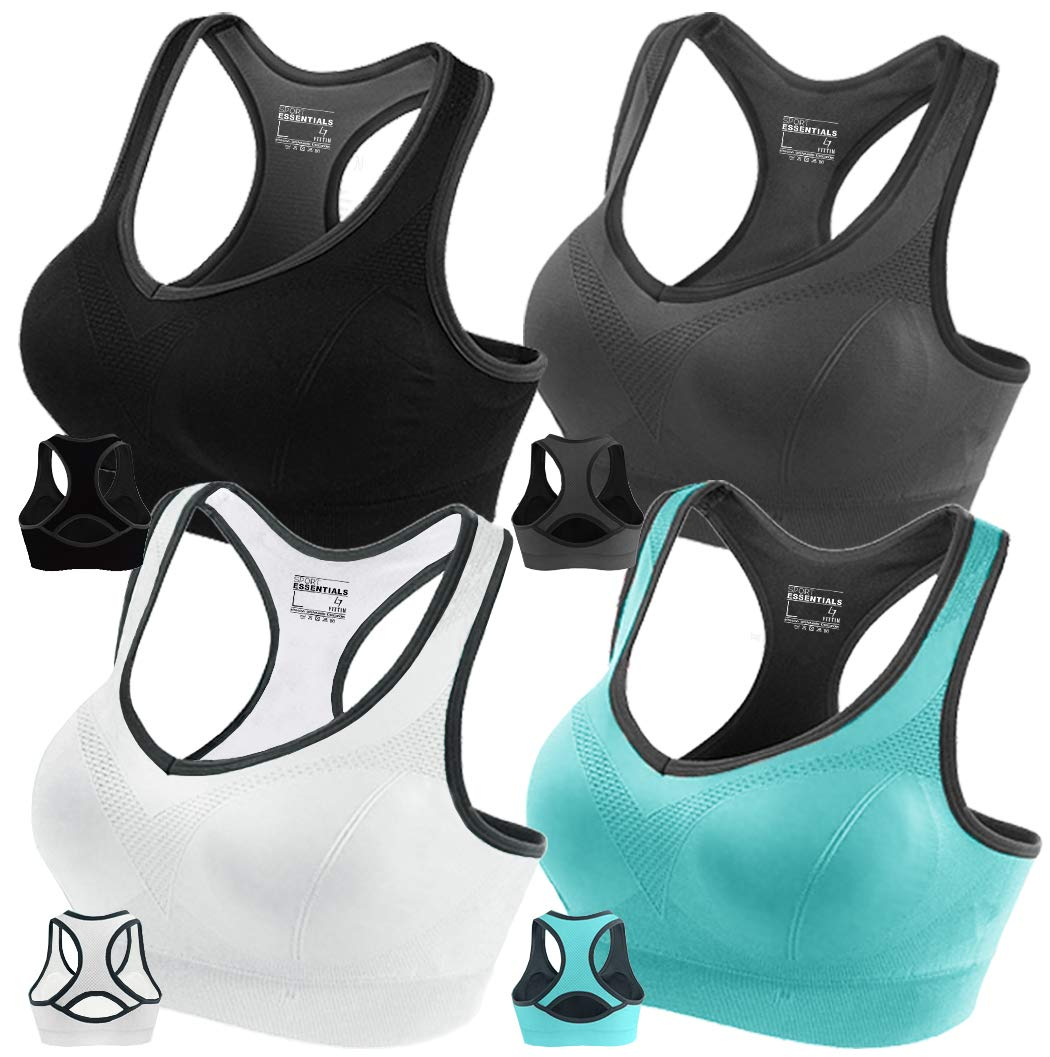 FITTIN Racerback Sports Bras Pack of 4 - Padded Seamless High Impact Support for Yoga Gym Workout Fitness with Removable Pads XL