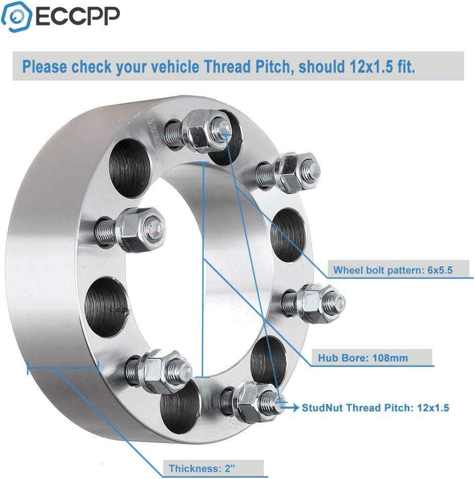 ECCPP 6 Lug Wheel Spacers 2 6x5.5 to 6x5.5 108mm Hub Fits for Toyota 4Runner FJ Land Cruiser Tacoma Tundra Sequoia Isuzu Trooper Rodeo Amigo with 12x1.5 Studs