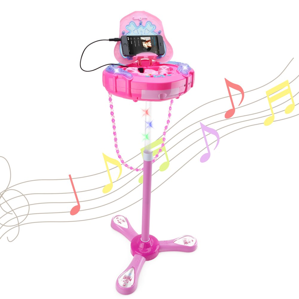 HANMUN Kids Karaoke Machine with 2 Microphones and Adjustable Stand,Music Sing Along with Flashing Stage Lights and for Fun Musical Effects,Pink …