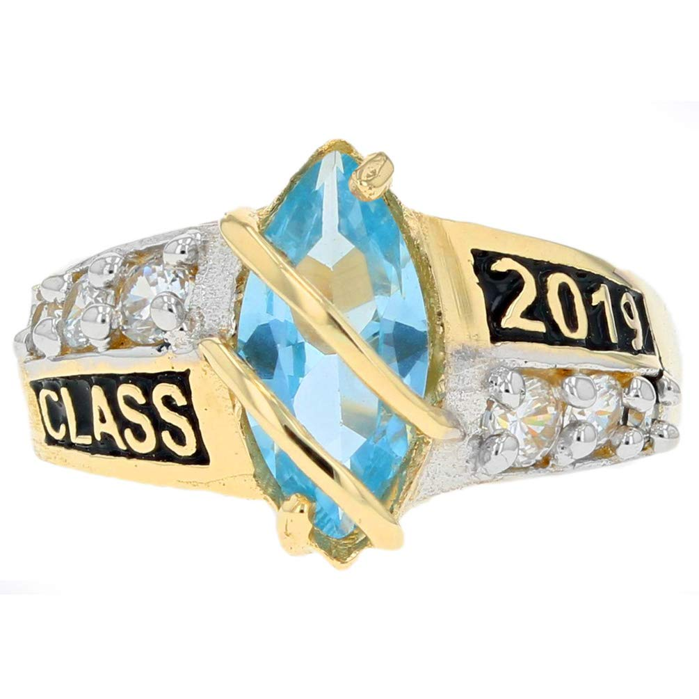 10k Solid Gold Simulated March Birthstone Class of 2019 Graduation Ring