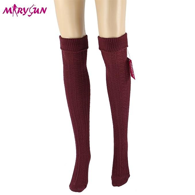 1950s Socks- Women's Bobby Socks Women Girls Thigh High Socks Winter Over Knee Leg Warmer - Knit Crochet Socks  AT vintagedancer.com