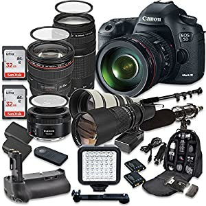 Canon EOS 5D Mark III 22.3 MP Full Frame CMOS Sensor Digital SLR Camera w/ EF 24-105mm f/4 L IS USM Lens + 75-300mm f/4-5.6 III Telephoto + 500mm f/8 Preset Lens + Holiday Accessory Bundle + More!