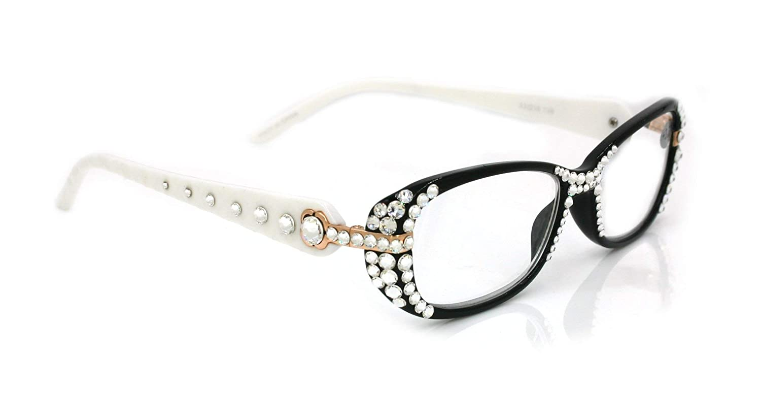 1efd2381ca51 Quilted Black   White Crystal Reading Glasses Women W Swarovski +1.25 +1.5  1.75