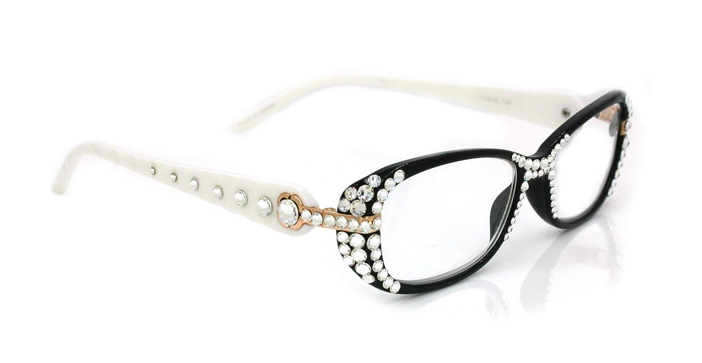 1efd2381ca51 Quilted Black   White Crystal Reading Glasses Women W Swarovski +1.25 +1.5  1.75