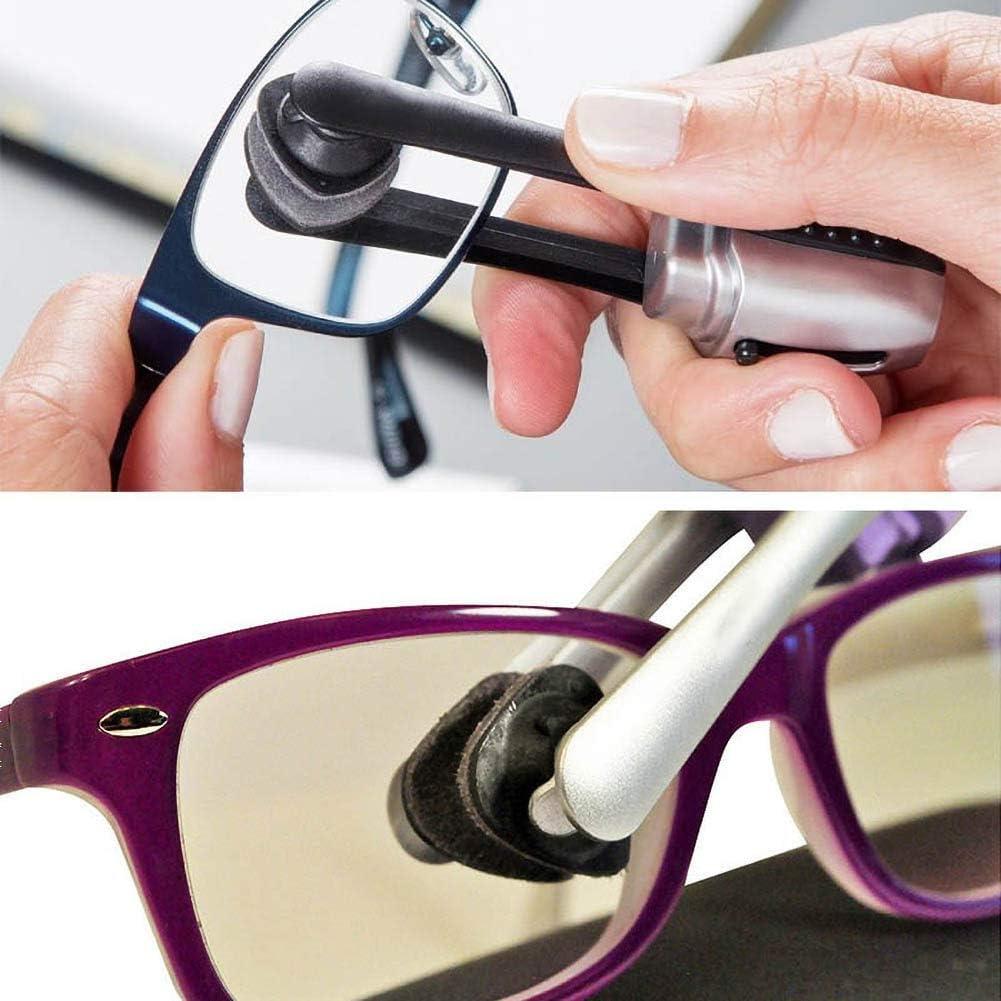 Symina 3 Pcs Eyeglass Cleaner with 2 Pcs Glasses Cleaner Cloth 02 Glasses Lens Cleaner Brush Carbon Microfiber Technology