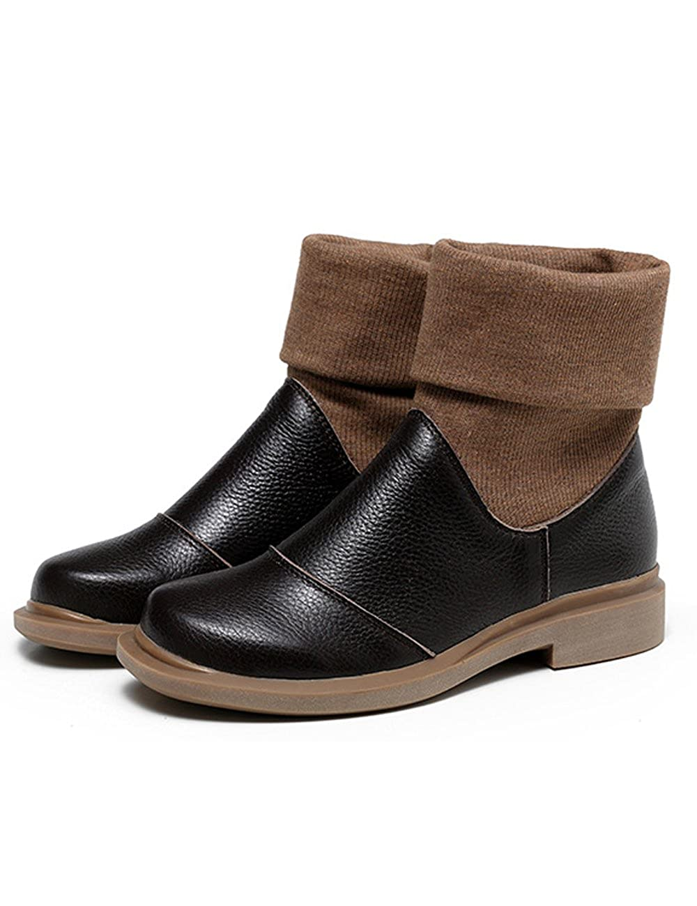 Zoulee Womens Round Toe Leather Short Boots Warm Flats Boots 06Zoulee1119
