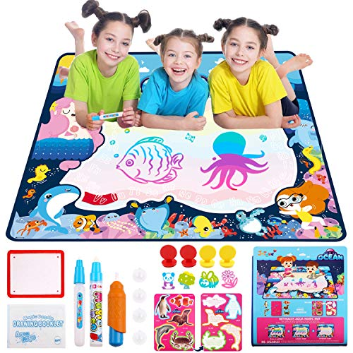 JVIGUE Water Doodle Drawing Mat, Ocean Water Doodle Mat Kids Magic Painting Board with 7 Rainbow Colors Educational Travel Toy Gift for Toddler Boy Girl Age 2 3 4 5+ Years Old (39.5 x 31.5)