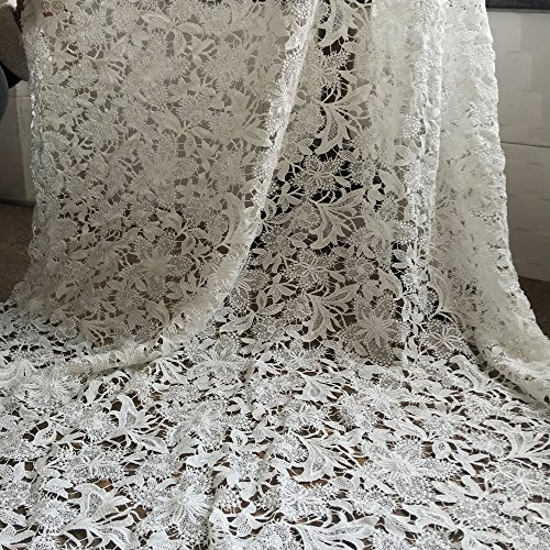 Off-White Guipure Lace Fabric Embroidered Flower Fabric Hollowed Wedding Lace Fabric 51 inches for Bridal Dress Bodices Shorts Craft Making 1 Yard