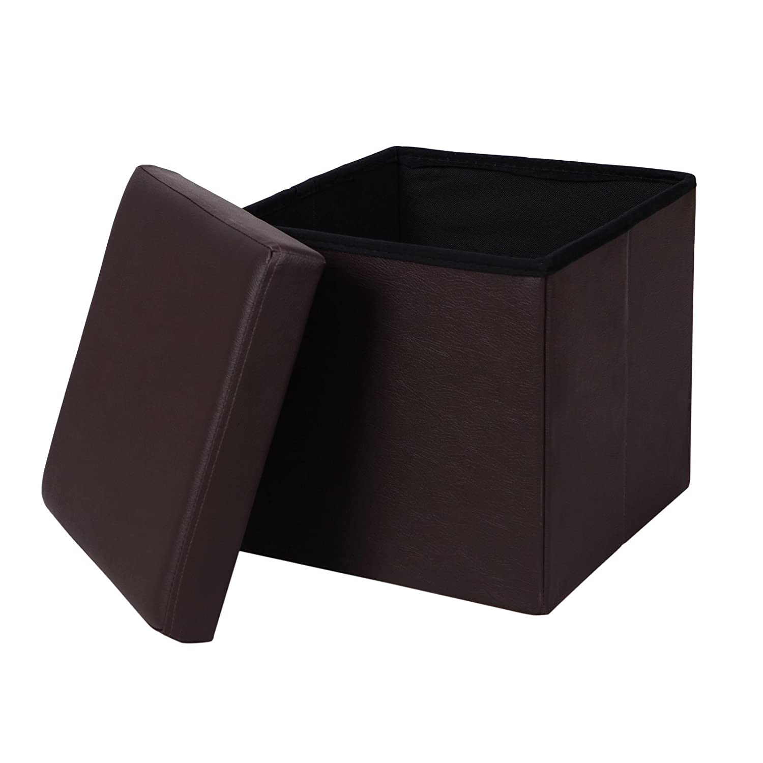 SONGMICS Faux Leather Folding Storage Ottoman Cube Foot Rest Stool Seat 14  7/8