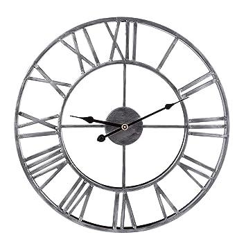Reloj de Pared Moderno, CT-Tribe 47cm Hierro Reloj Moderno Decoración Adorno para Hogar Habitación - Plata: Amazon.es: Hogar