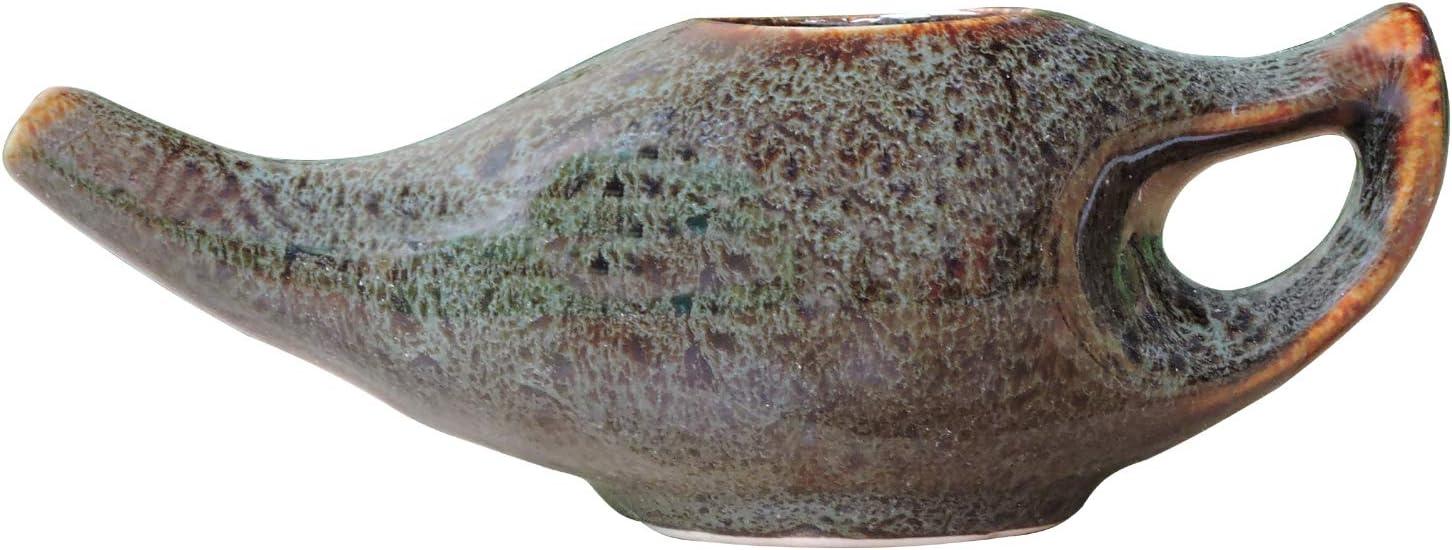 HealthGoodsIn - Porcelain Ceramic Neti Pot for Nasal Cleansing with 10 Sachet Neti Salt and Instructions Leaflet, Elegant Black and Green Dapple