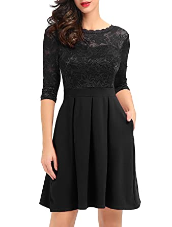 55a1d31c2fbbe Noctflos Women's Black Vintage Floral Lace Cocktail Party Swing Dress with  3/4 Sleeves