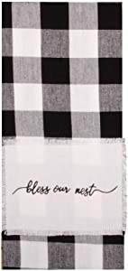 Home Collections by Raghu Buffalo Check Bless Our Nest Towel, Black, White