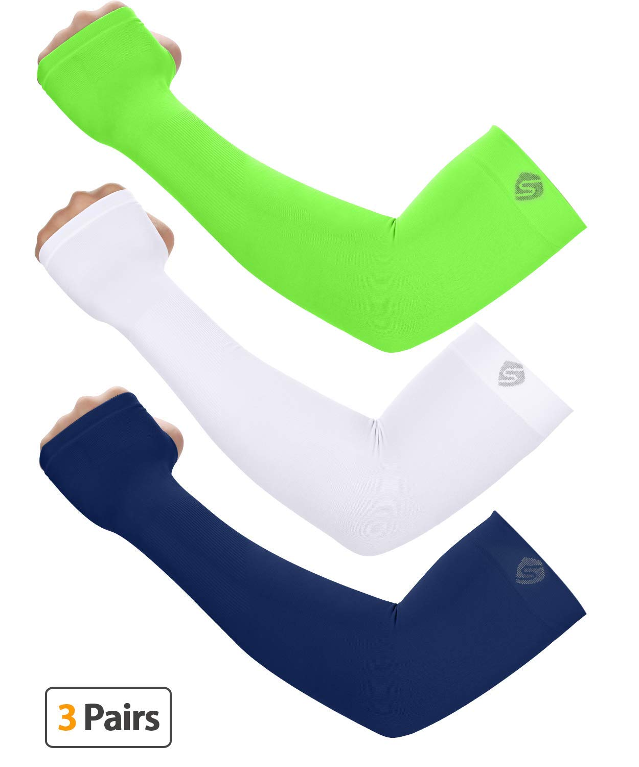 SHINYMOD UV Protection Cooling Arm Sleeves for Men Women Sunblock Cooler Protective Sports Gloves Running Golf Cycling Basketball Driving Fishing Long Arm Cover Sleeves (Navy+Neon Green+White)