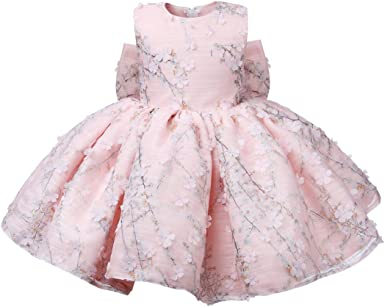 Infant Kids Baby Girls Rose Floral Party Dress Tulle Weeding One-piece Clothes