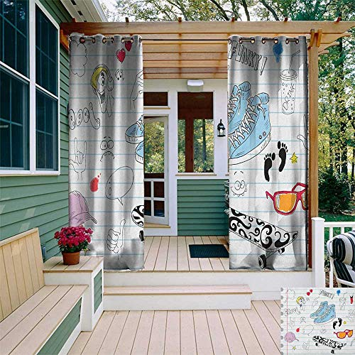 leinuoyi Doodle, Outdoor Curtain Pole, Notebook Design with a Variety Drawings Funky Skateboard Shooting Star, Set for Patio Waterproof W96 x L108 Inch Black Pale Blue - Skateboards Venue