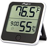 Humidity Monitor - Anypro Hygrometer Thermometer Temperature Humidity Monitor 2-in-1 Digital Weather Station With Humidity Meter Temperature Gauge, Time Display and Built-in Clock, Wireless for House