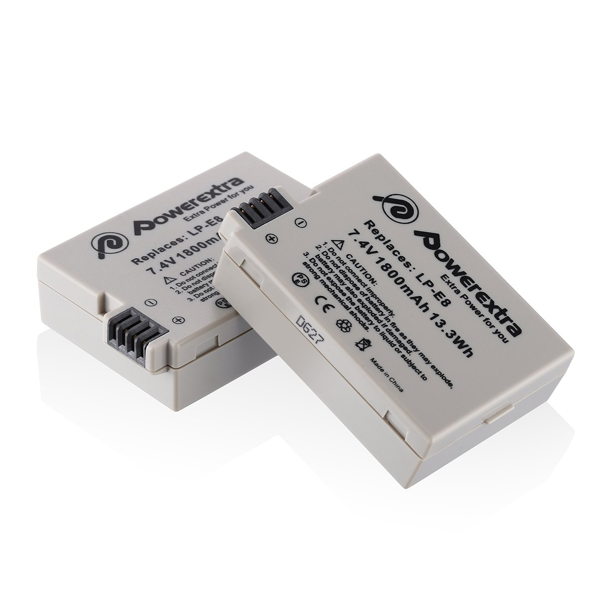 Powerextra 2 Pack 7.4V 1800mAh Li-ion Replacement Canon LP-E8 Battery for Canon EOS Rebel T3i, T2i, T4i, T5i, EOS 600D, 550D, 650D, 700D, Kiss X5, X4, Kiss X6, LC-E8E by Powerextra
