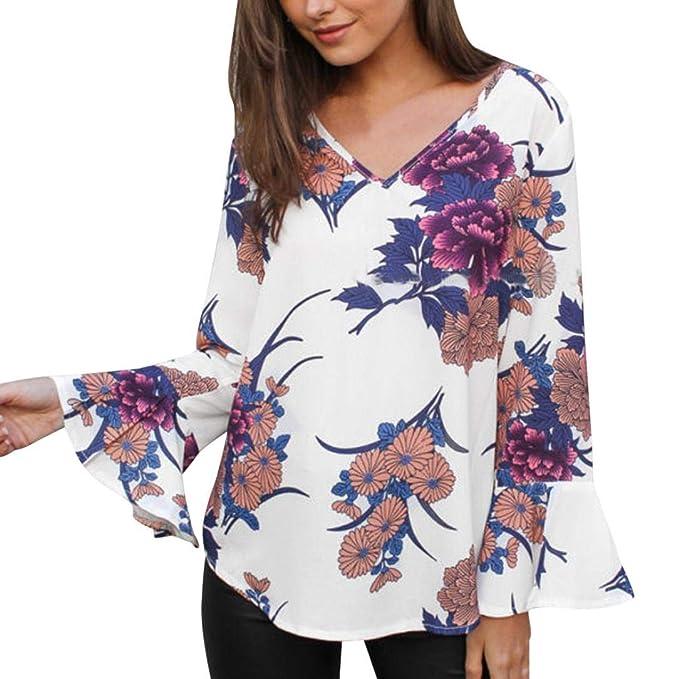 Mujer Camisas Lonshell Vacaciones Floral Impresión Manga Larga Cuello en V Moda Blusa Escote en V Llano Plisado Camisa Creativo Manga Tops: Amazon.es: Ropa ...