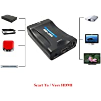 EMEBAY - Scart to HDMI 1080p 60Hz SCART Adapter Plug and Play Analog to Digital Converter Box Video Audio HDMI Scart Adapter Support PAL/NTSC / SECAM for PS4 / PS3 / TV/DVD